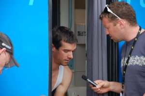 Tour bus - Britain's David Millar