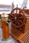 The ship's wheel on RRS Discovery