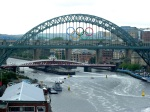Tyne Bridge and power boats