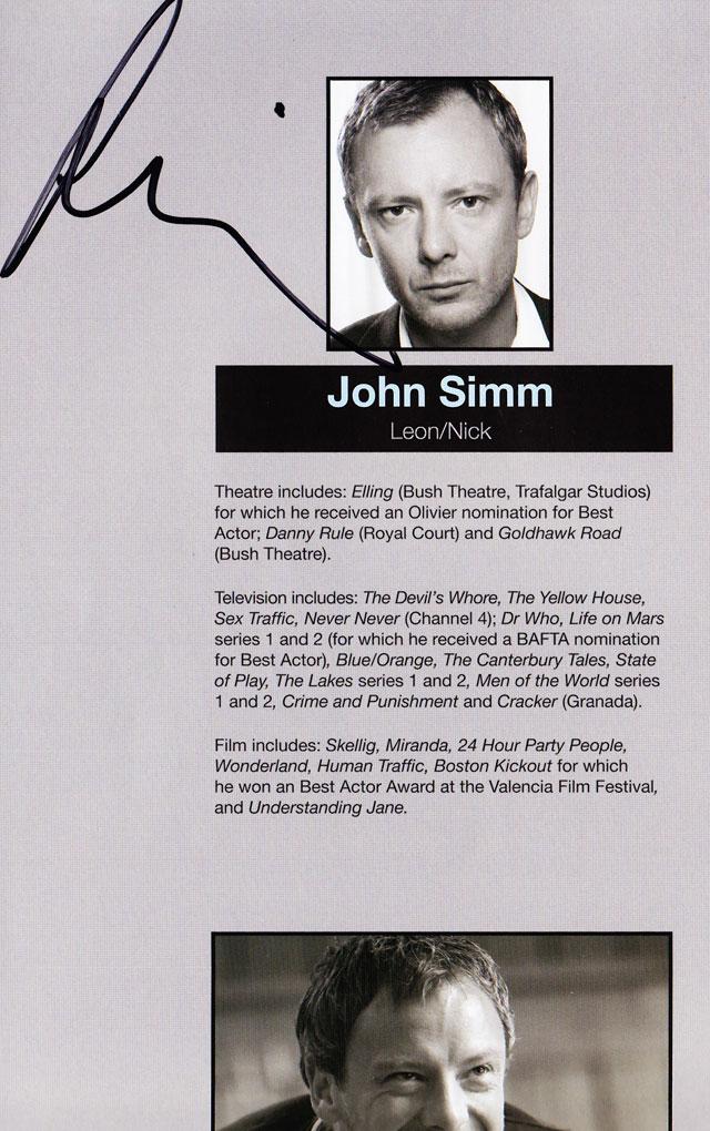 John Simm autograph