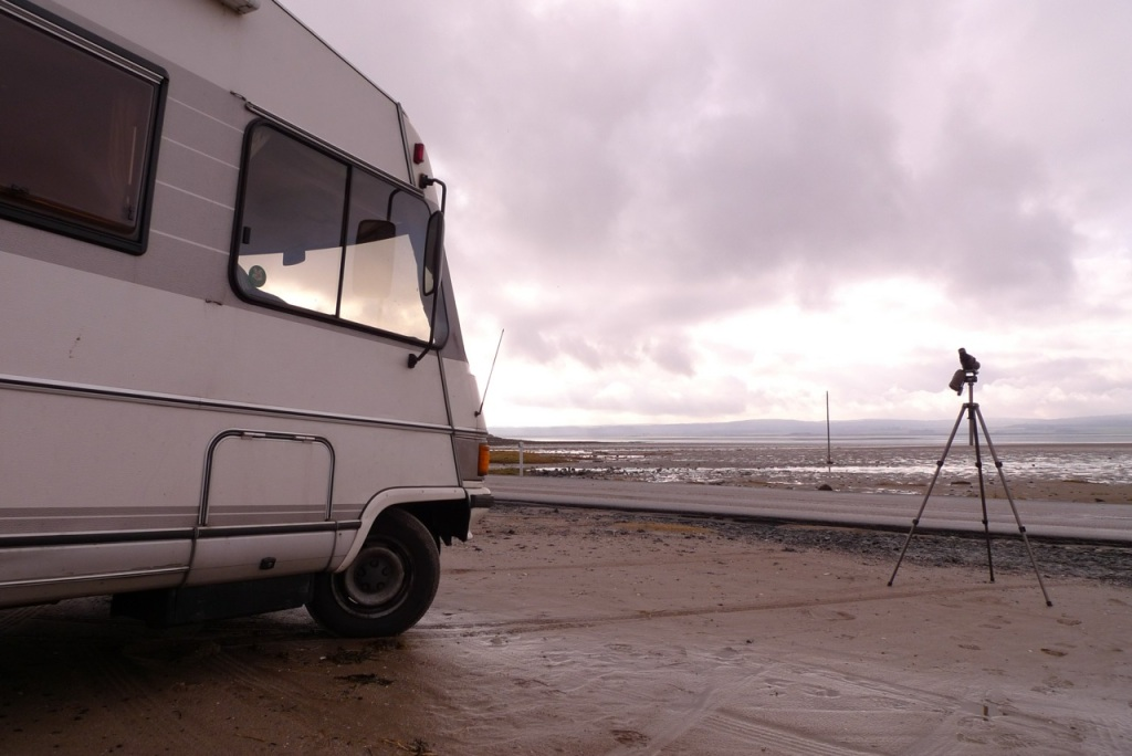 Camper van on location