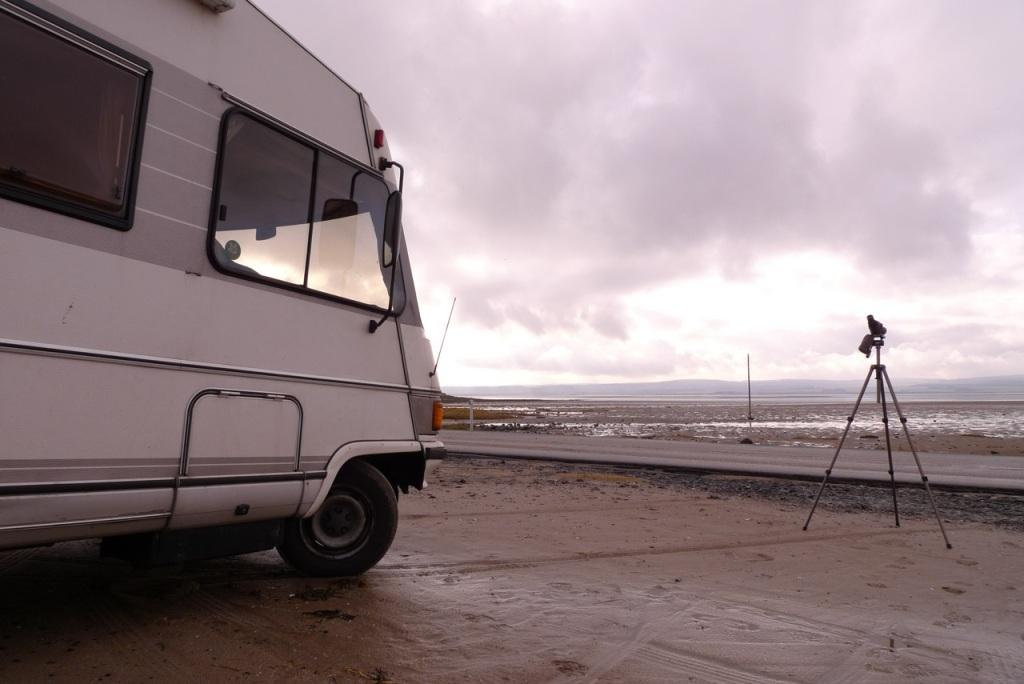 Camper van on location