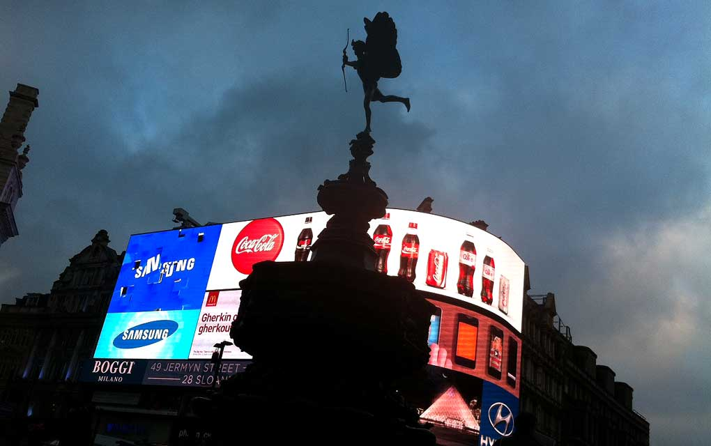 Bright lights of Piccadilly Circus