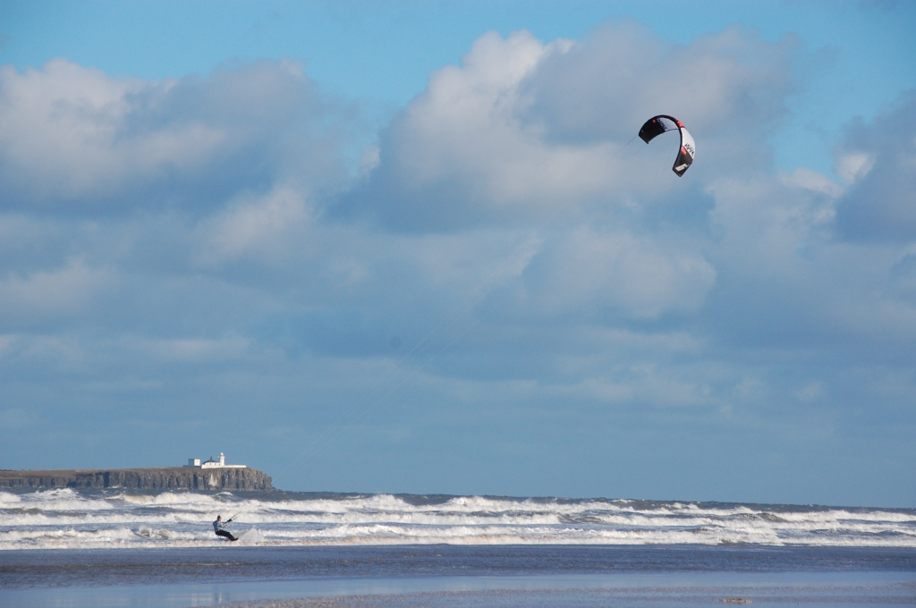Kite surfing at Bamburgh