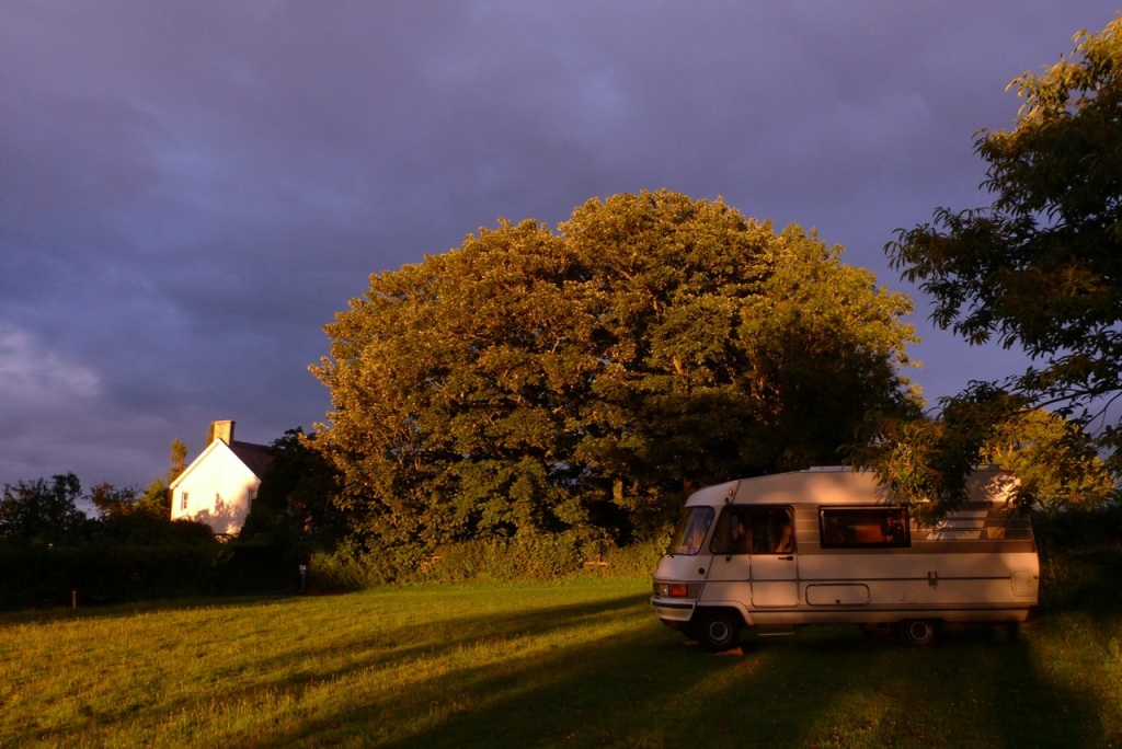 Sunset over the camper van