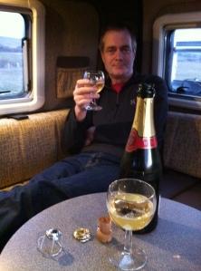 Champagne in the Vantage Sol camper van