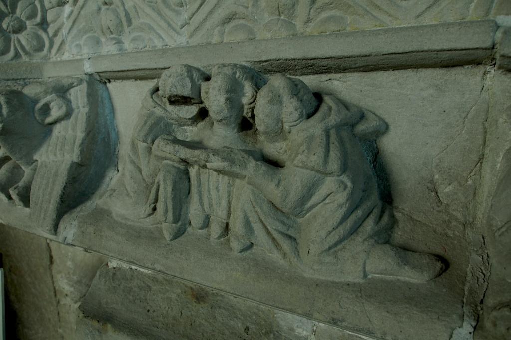 Cartmel Priory monks stone piece