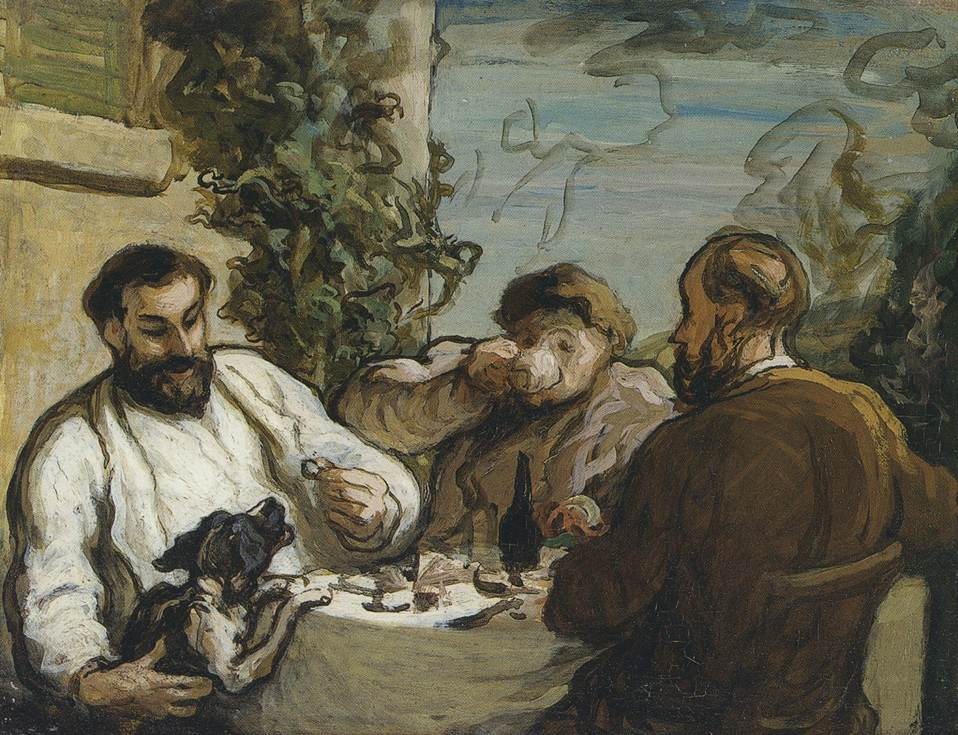 Honore Daumier <br />Lunch in the Country, c. 1867-1868 <br />Oil on panel <br />26 x 34 cm <br />National Museum of Wales, Cardiff <br />Photo (c)