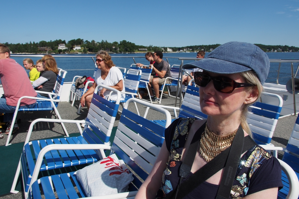 Tammy on whale watching boat