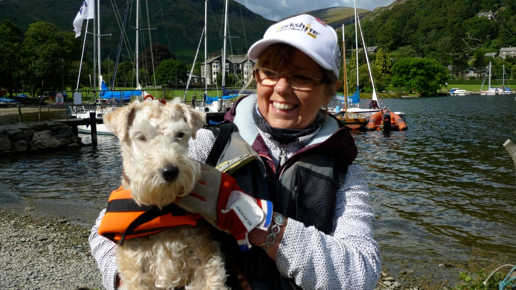 Dog with life jacket at Ullswater