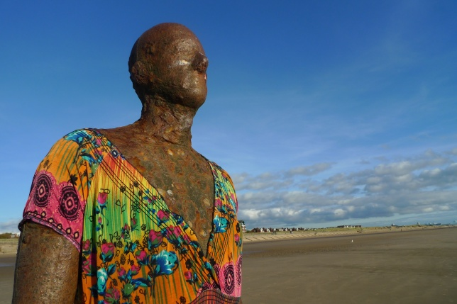 Gormley figure with added clothing