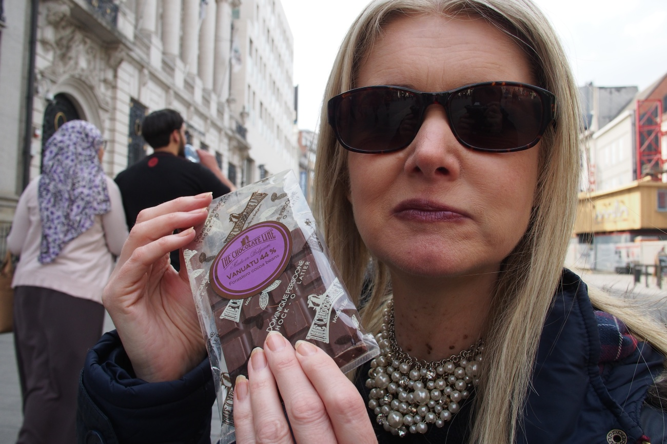 Tammy with chocolate in Belgium