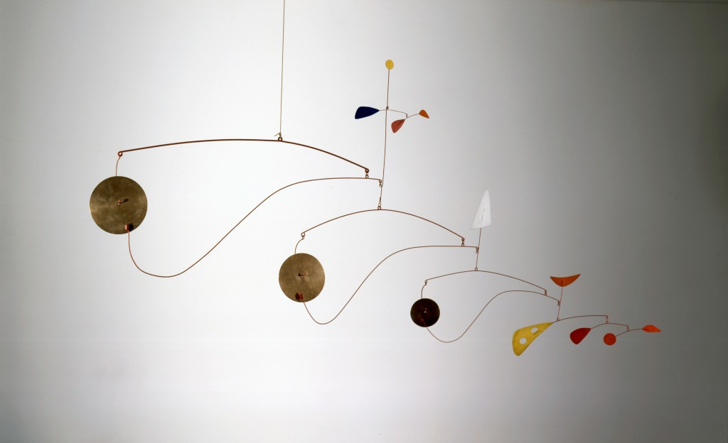 Triple Gong, ca. 1948. Brass, sheet metal, wire, and paint, 39 x 75 x 2 3/4 in.