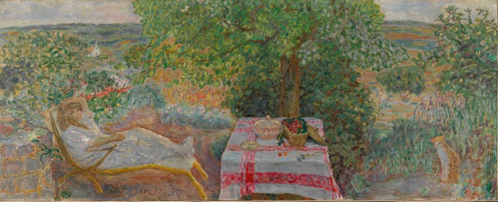 Pierre Bonnard, Resting in the Garden (Sieste au jardin), 1914 The National Museum of Art, Architecture and Design, Oslo Photo (c) Nasjonalmuseet for kunst, arkitektur og design/The National Museum of Art, Architecture and Design / (c) ADAGP, Paris and DACS, London 2015 T&Cs for reproducing works of artists represented by DACS: Press use is considered to be moderate use of images to report a current event or to illustrate a review or criticism of the work, as defined by the Copyright, Designs and Patents Act 1988 Chapter 48 Section 30 Subsections (1) - (3). Reproductions which comply with the above do not need to be licensed. Reproductions for all non-press uses or for press uses where the above criteria do not apply (e.g. covers and feature articles) must be licensed before publication. Further information can be obtained at www.dacs.org.uk or by contacting DACS licensing on +44 207 336 8811 or licensing@dacs.org.uk. Due to UK copyright law only applying to UK publications, any articles or press uses which are published outside of the UK and include reproductions of these images will need to have sought authorisation with the relevant copyright society of that country. Please also ensure that all works that are provided are shown in full, with no overprinting or manipulation.