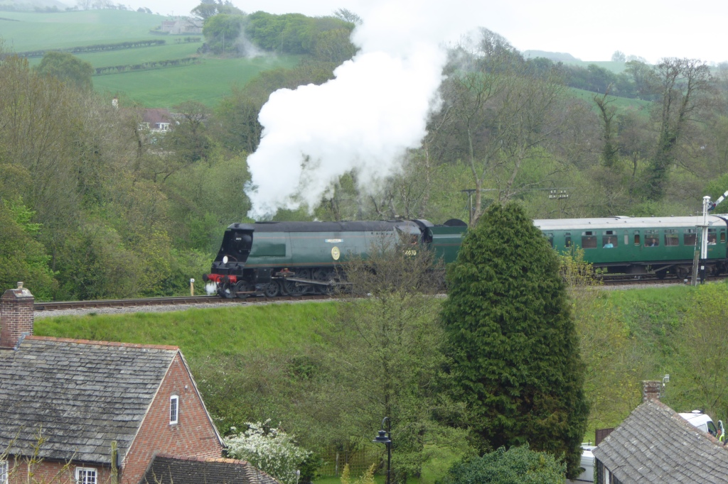 Steam train from View from Corfe Castle Dorset