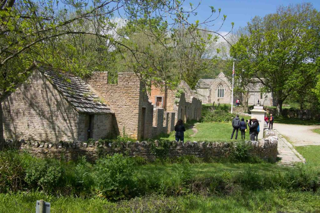 Tyneham village in ruins