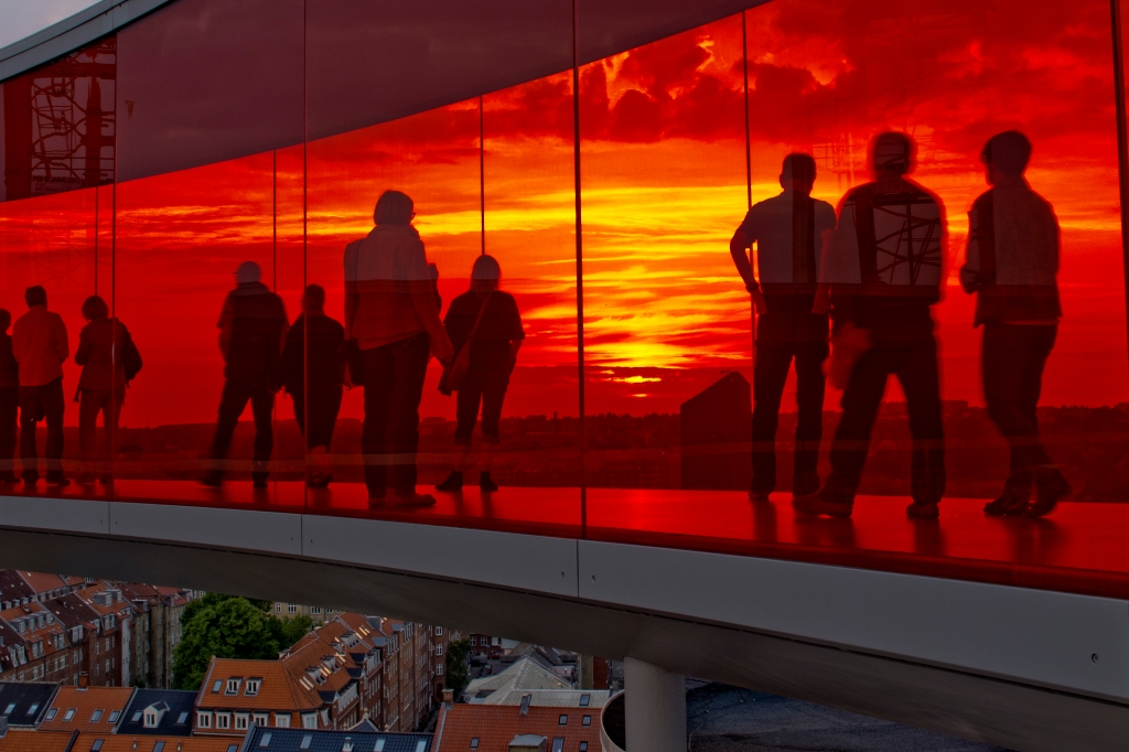 The Rainbow Panorama at night c/o ARoS and Pedersen