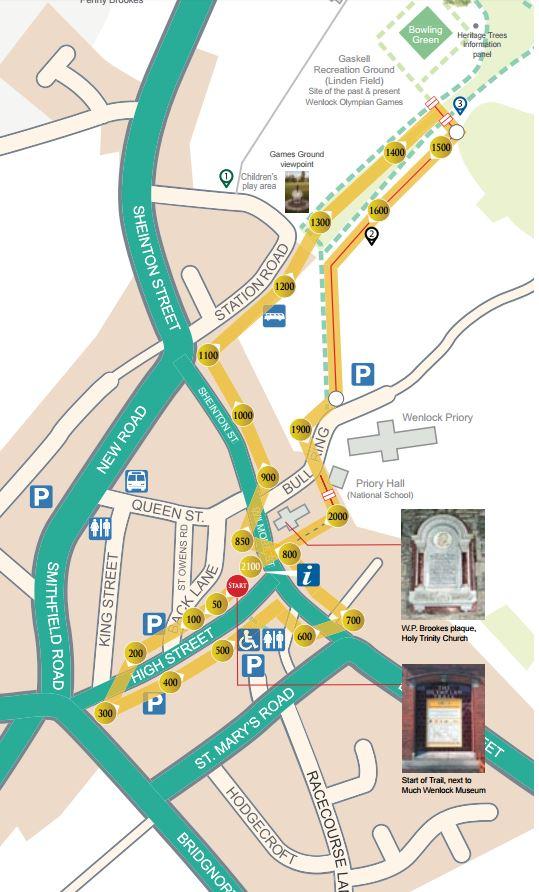 Much Wenlock Olympian Trail map c/o Much Wenlock Olympian Society