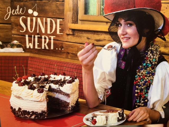 Black Forest cake postcard