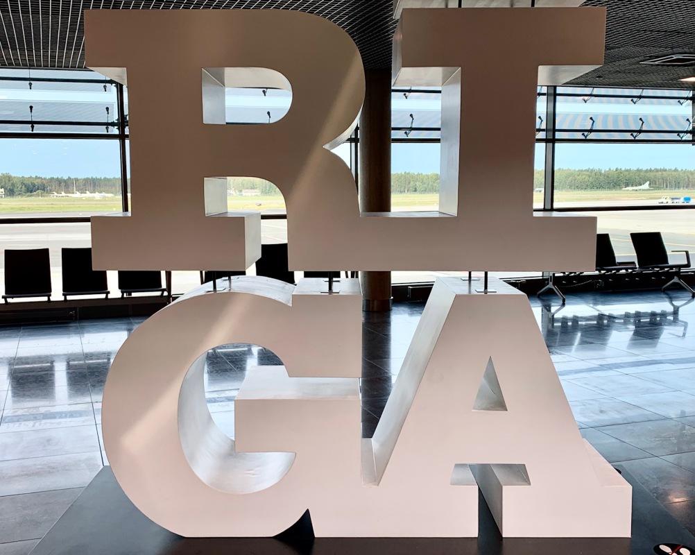 Riga airport sign