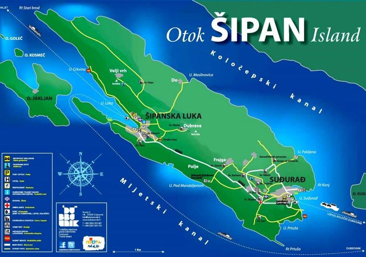 Sipan island tourist map