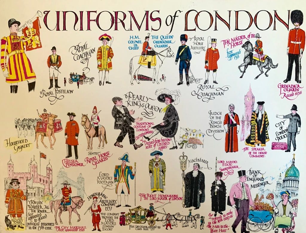 Uniforms of london post card